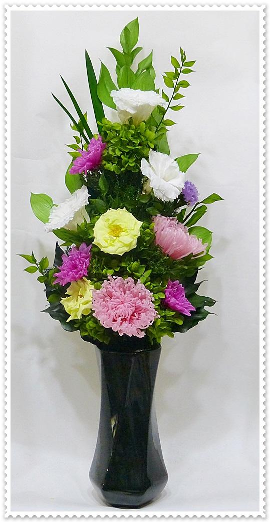 プリザーブドフラワー仏花145 サイズ(L)(花器は付属しておりません)                                                                                                                    【仏花 プリザーブドフラワー145】サイズ:全長約46cm(内、茎約15cm)