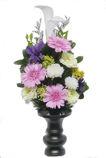 プリザーブドフラワー仏花186 サイズ(M) (花器は付属しておりません)                                                                                                                    【仏花 プリザーブドフラワー186】サイズ:全長約35cm(内、茎約9cm)、幅約16cm